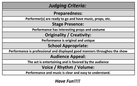 talent show criteria for judging spring 2017 talent show westar elementary school