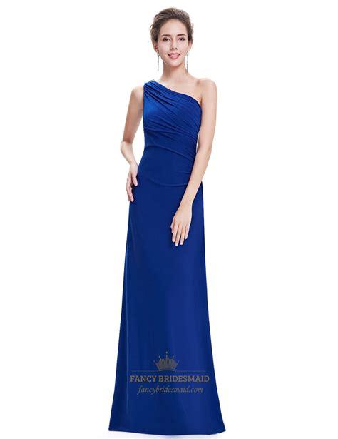 blue one royal blue one shoulder sheath bridesmaid dress with