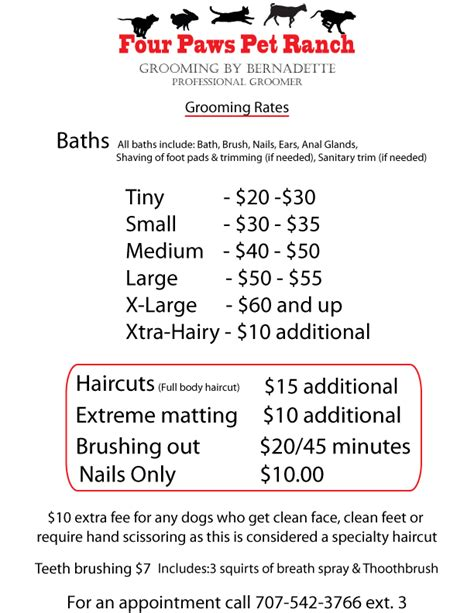 petsmart grooming prices four paws pet ranch grooming