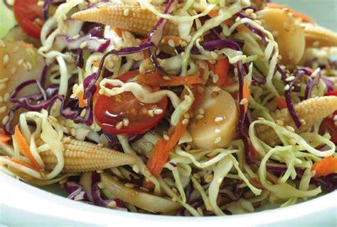 asian cabbage salad  garlic sesame dressing jamie geller