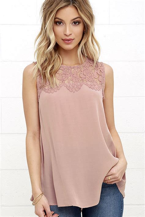 30182 Summer Lace Casual Top Fashion Summer Lace Vest Top Sleeveless Blouse