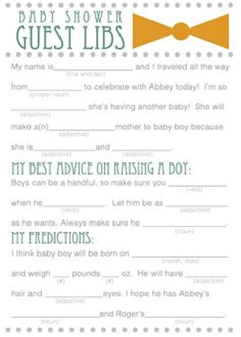 Baby Boy Shower Mad Libs Free by Baby Shower Mad Libs Print Them For Guests To Fill Out