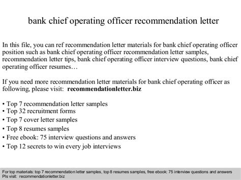Bank Chief Operating Officer Cover Letter by Bank Chief Operating Officer Recommendation Letter