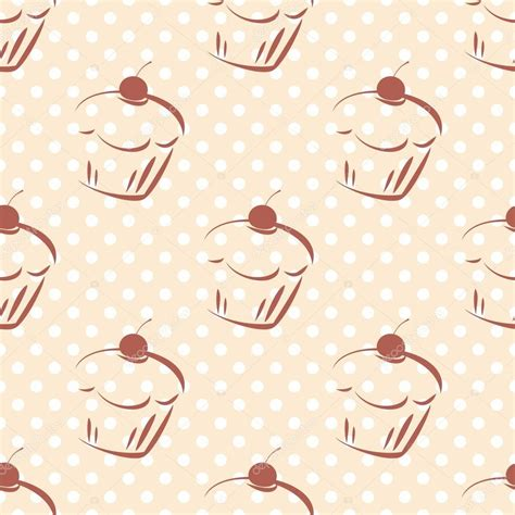 Cake Background Pattern Vector | seamless vector pattern or texture with cherry cupcakes