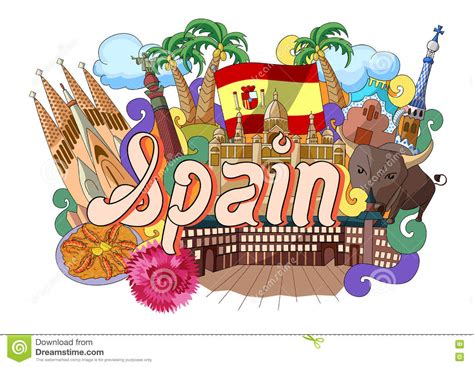 doodle espaã ol doodle showing architecture and culture of spain stock