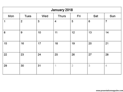 2018 monthly calendar template | yearly printable calendar