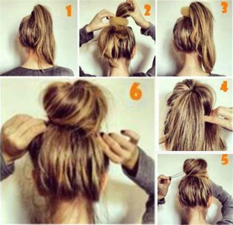 easy to make bun hairstyles how to make a messy bun with medium hair latest style