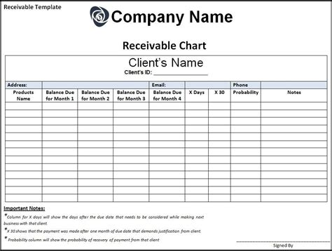 7 Receivable Templates Free Word Templates Accounts Receivable Access Template