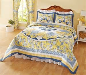 Patchwork Bedspread - patchwork quilted bedspread blue yellow this