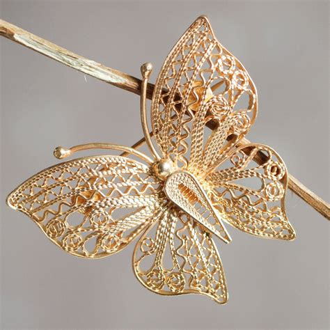 Handmade Brooches Uk - unicef uk market handmade gold plated filigree butterfly