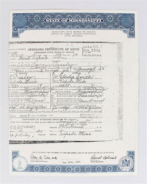 Mississippi Birth Records Free Elvis S Official Birth Certificate From Mississippi State Board Of He Ebay