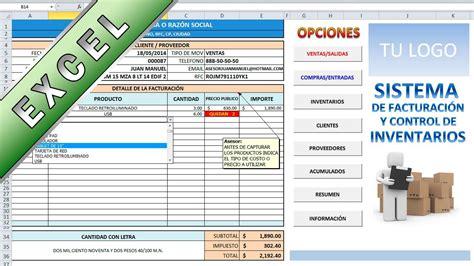 control de inventario en excel sistema de facturaci 243 n y control de inventarios en excel