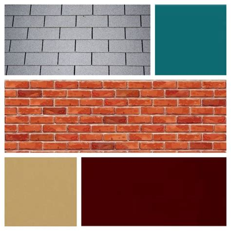 exterior color scheme for brick and grey roof burgundy door teal siding and shutters