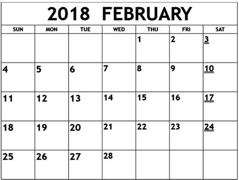 printable free february 2018 calendar february 2018 calendar printable template calendar