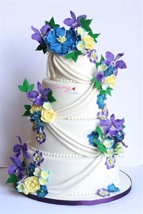 Wedding Cakes With Yellow And Purple Flowers by Blue Yellow Purple And White Wedding Cake Cakecentral