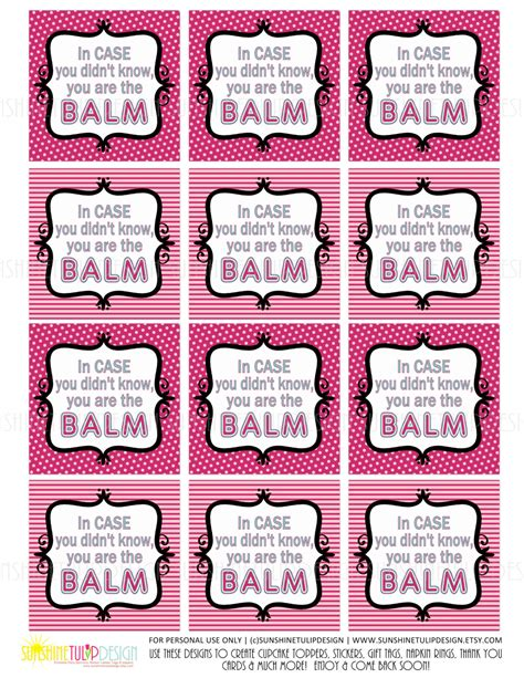printable appreciation tags printable teacher appreciation tags you are the balm tags