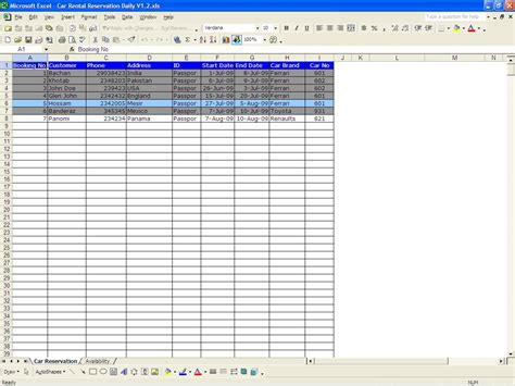 excel rental template car rental reservations excel templates
