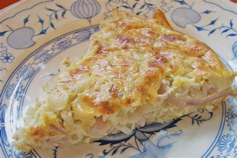 Speck Zwiebel Kuchen Mit Bl 228 Tterteig Rezept Mit Bild