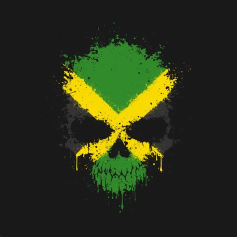 Wall Designs Stickers chaotic jamaican flag splatter skull jamaica t shirt