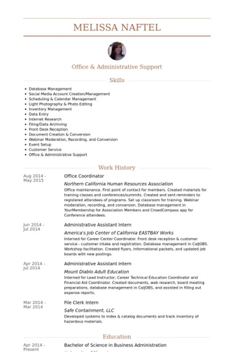 Office Coordinator Resume by Office Coordinator Resume Sles Visualcv Resume