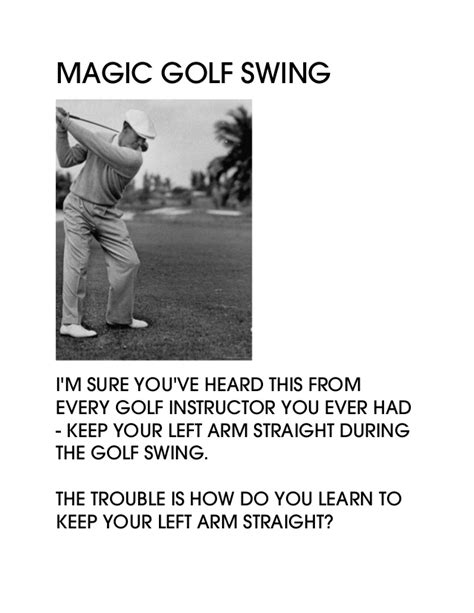 left arm straight golf swing magic golf swing