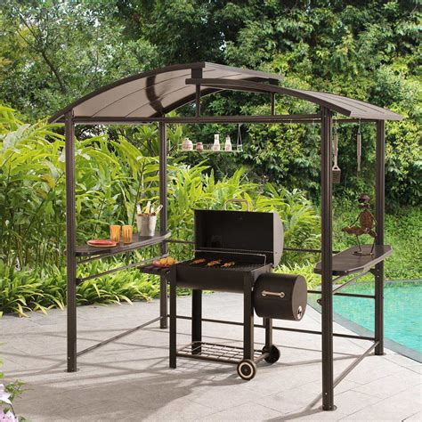 gazebo steel denver steel grill gazebo 7 6 ft x 4 9 ft outdoor patio