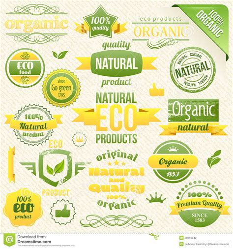 vector organic food eco bio labels and elements stock