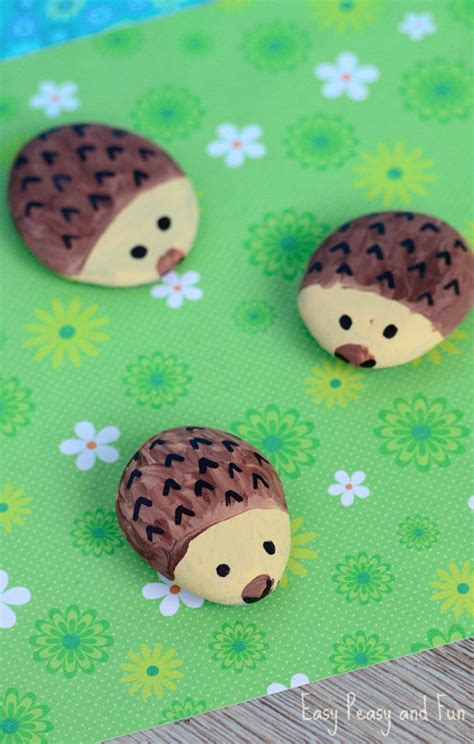 rock crafts for hedgehog painted rocks rock crafts for easy peasy