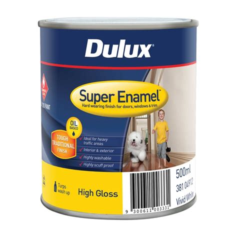 high gloss paint dulux super enamel 500ml high gloss vivid white enamel paint