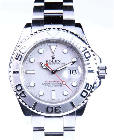 pre owned rolex stainless steel platinum yacht master