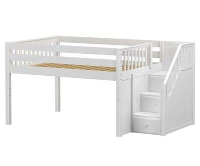 low bunk beds with stairs maxtrix perfect low loft bed with stairs full size white