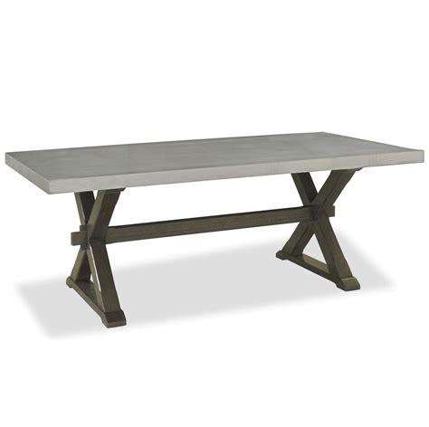flatiron oak wood stainless steel  base dining table