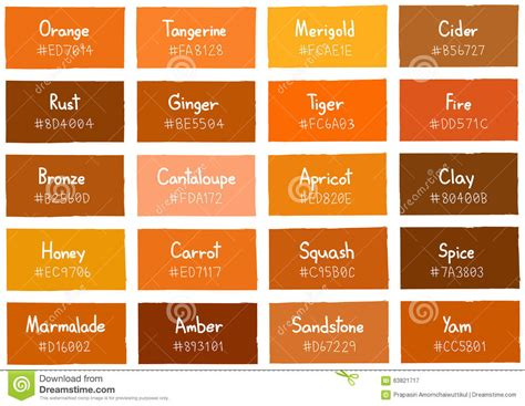orange tone orange tone color shade background with code and name