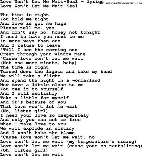 song t love song lyrics for love won t let me wait seal
