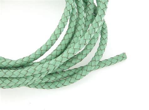 6mm Braided Cord - 6mm braided leather cord mint genuine leather cord