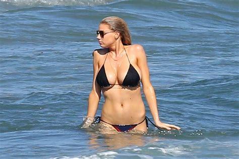 charlotte mckinney  black bikini  gotceleb