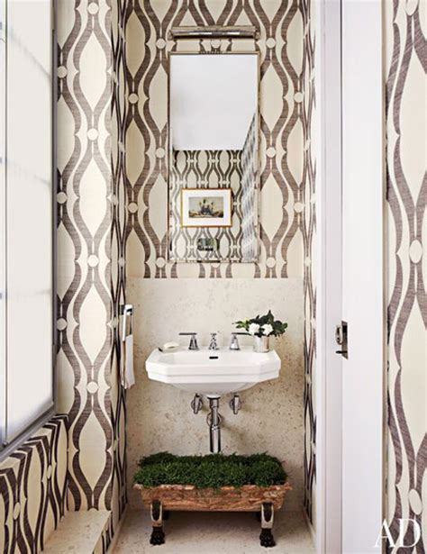 Bathroom Lining Wallpaper Guest Post Wallpapered Washrooms From Brunch At Saks
