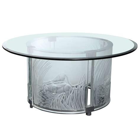 glass and chrome table lalique art deco style three lioness glass and chrome