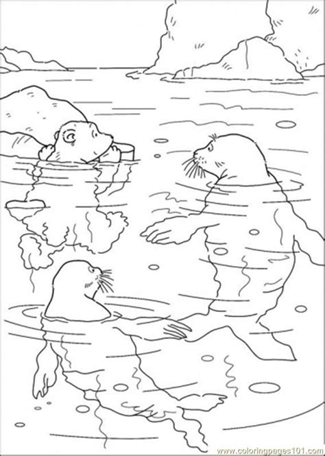 coloring pages the little polar bear polar bear and swimming with the walrus coloring page