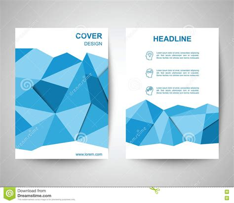 abstract blue low polygon leaflet brochure flyer template blue polygon flyer a4 template stock vector image 72520624