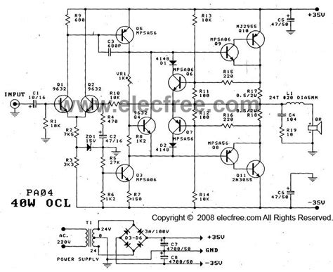transistor 2n3055 circuit 40 w transistor audio lifier circuit with pcb eleccircuit