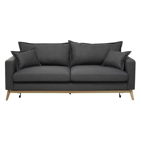 Slate Grey Sofa by 3 Seater Fabric Sofa Bed In Slate Grey Duke Maisons Du Monde