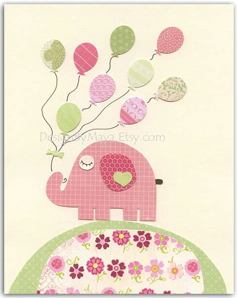 Pink Elephant Nursery Decor Nursery Wall Print Baby Room Decor Baby By Designbymaya