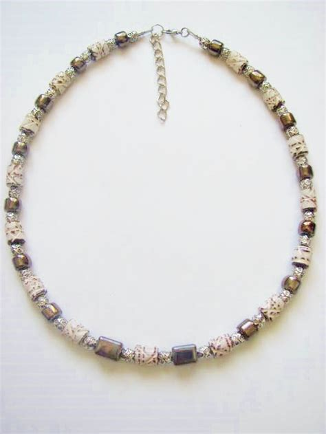 boys beaded necklace brown hematite s surfer style beaded necklace
