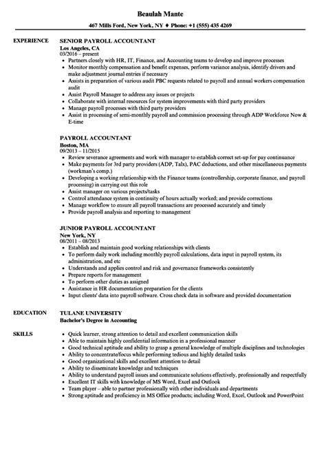 Payroll Resume by Payroll Accountant Resume Sles Velvet