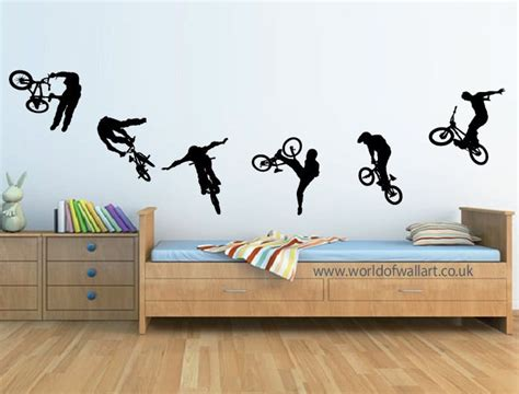 boys wall stickers for bedrooms 6 stunt bmx bikes wall stickers boys bedroom a4 size decals kamer jongens bmx