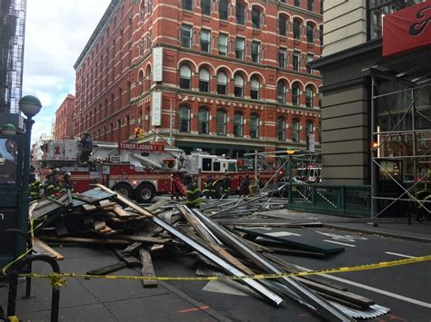 st goes on what side scaffolding collapses into new york city street 5 hurt