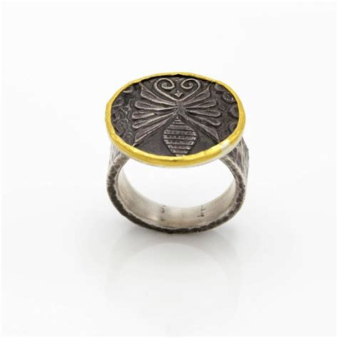 oxidized silver hammered gold plate butterfly insect ring