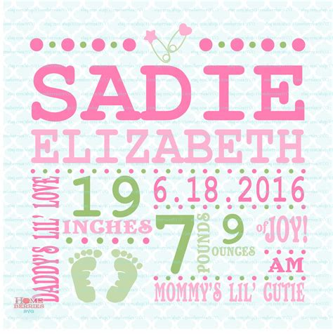 Free Birth Announcement Template by Birth Announcement Template Svg Birth Svg Baby Svg