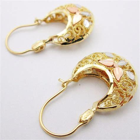 10k tri tone gold s earrings ebay